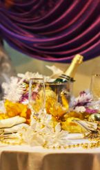 Indoor Marquee Champagne Table Centre Piece Setting