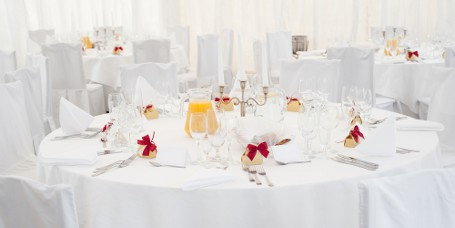 Indoor Marquee Showing White Table linen Setting