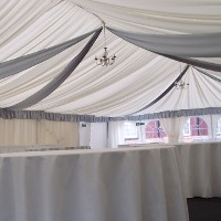 Marquee Lining Silver Ceiling Drapes and Pelmets