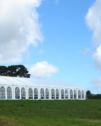 Party Marquee with Countryside Backdrop