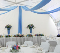Sky Blue Ceiling Drapes