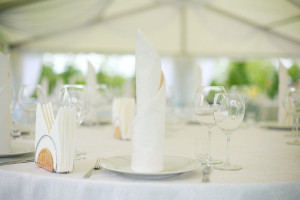 Table Linen setting with Napkin rolls in Snowball White