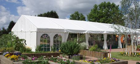 Garden marquee with flower display