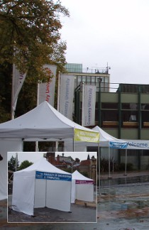 Gazebo Hire for Coventry University in front of Alan Berry Building