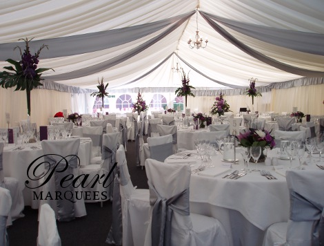Marquee photos to inspire your event look marquee decoration with silver drapes junglespirit Choice Image
