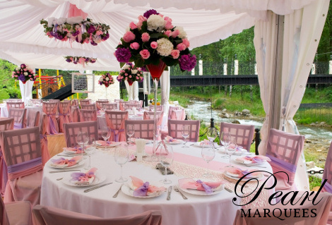Marquee photos to inspire your event look fuscia themed marquee decoration junglespirit Image collections