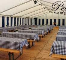 Blue Chequered Corporate Marquee Decoration Ideas
