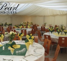 Party Marquee with green and yellow table decor