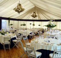 Party Marquee Neutral with Royal Blue Pelmet Highlights