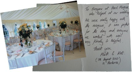 Photo of Marquee and thank you note sent in by Mark and Kat