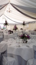 Wedding Marquee with Silver Ceiling Drapes and Silver Pelmet Borders