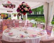Wedding Marquee Decoration Themed in a Contemporary Pink Style